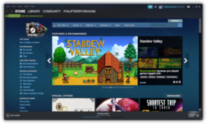 The Steam client in October 2019, showing the storefront