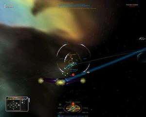Allegiance (video game) - A Technoflux Heavy Interceptor destroys an enemy bomber. Bombers are used to destroy bases whereas Interceptors excel at defending them.