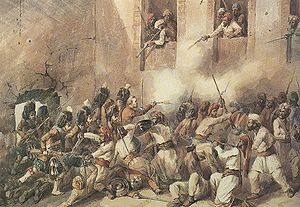 George Stewart (VC) - The 93rd Highlanders entering the Secunderabagh, Lucknow through a breach in the wall, 16 Nov 1857 during the Indian Mutiny