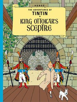 Book cover. Tintin and Snowy are passing through the gates of a royal castle.