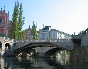 Triple Bridge - Downstream view of the Triple Bridge from the Ljubljanica River