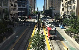 City Center (UTA station) - A southbound train at City Center, viewed from the City Creek Center skybridge.