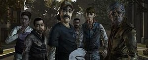 The Walking Dead (video game) - Several members of the main cast of survivors of The Walking Dead by Episode 4. From left, Christa, Omid, Kenny, Lee, Ben, and Chuck.
