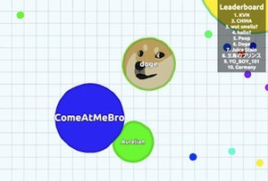 Agar.io - Agar.io gameplay; this shows only a small fraction of an Agar.io map.  There are four cells on this screenshot. One of the cells is a drawing of Doge, an Internet meme.