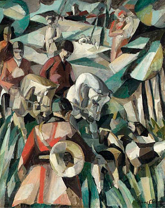 "Section d'Or - Albert Gleizes, 1911, La Chasse (the Hunt), oil on canvas, 123.2 x 99 cm. Published in  L'Intransigeant, 10 October 1911, ""Les Peintre Cubistes"" 1913, by G. Apollinaire, and Au Salon d'Automne', Revue d'Europe et d'Amerique, Paris, October 1911. Exhibited at the 1911 Salon d'Automne, Valet de Carreau (Jack of Diamonds), Moscow, 1912, and Galerie de la Boétie, Salon de la Section d'Or, Paris, 1912"