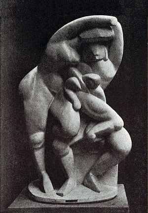 Cubist sculpture - Alexander Archipenko, 1912, La Vie Familiale (Family Life). Exhibited at the 1912 Salon d'Automne, Paris and the 1913 Armory Show in New York, Chicago and Boston. The original sculpture (approx six feet tall) was accidentally destroyed)