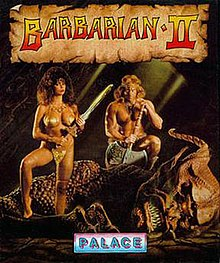 "A large, scaly, horned creature lies fallen on a cracked floor.  A busty woman, wearing a metallic bikini and brandishing a sword, stands on its arm.  A man, wearing a loincloth, squats astride the corpse while leaning on his battle axe.  The words ""Barbarian II"" are emblazoned at the top in a banner."