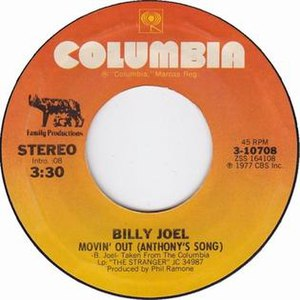 Movin' Out (Anthony's Song) - Image: Billy joel movin out anthonys song columbia US vinyl