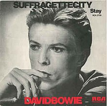 "The cover art of the 1976 single release of David Bowie's ""Suffragette City"""