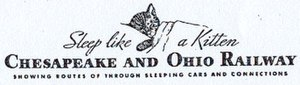 Chesapeake and Ohio Railway - Chessie on a 1940s timetable