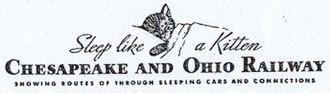 Chesapeake and Ohio Railway - Chessie on a 1940s timetable