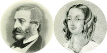 cameos, head only, of a Victorian man and woman in left profile