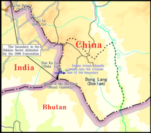 "2017 China–India border standoff - ""Sketch Map of the Site of the Indian Troops' Trespass"" - Translated Map published by the Chinese Foreign Ministry on 2 August 2017"