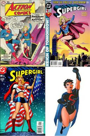 Supergirl - Iterations of Supergirl: The Silver Age original (top left), the Matrix version from the 1990s (top right), Linda Danvers (bottom left), and Cir-El (bottom right)