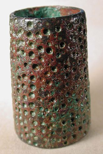 Thimble - A very early hand dimpled soldered cylinder thimble