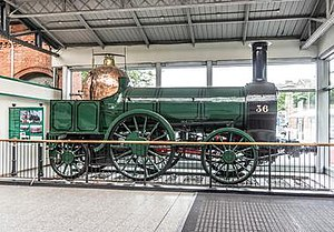 Bury, Curtis and Kennedy - Engine No.36 ran from Dublin to Cork, remaining in service until 1874; displayed at the Cork International Exhibition 1902, British Empire Exhibition, Railway Centenary, 1925 and the bi-centenary of the Royal Dublin Society, 1930.