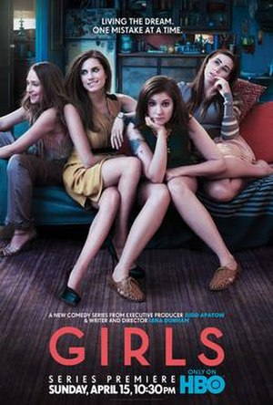 Girls (TV series) - Promotional poster for the series premiere showing the cast. From left to right: Jemima Kirke (Jessa), Allison Williams (Marnie), Lena Dunham (Hannah), and Zosia Mamet (Shoshanna).