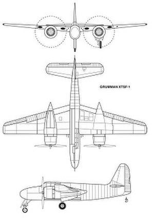Grumman XTSF - Three-view drawing of the XTSF-1 from Johnson 2008.