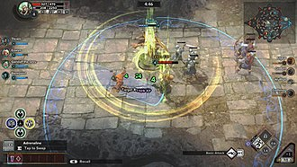Guardians of Middle-earth - The game uses elements from the MOBA genre; pictured is a creep wave attacking an enemy tower.