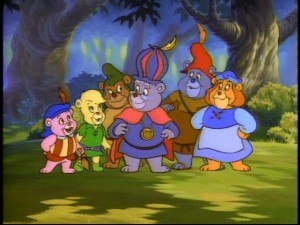 Disney's Adventures of the Gummi Bears - Gummi Bears from left to right: Cubbi, Sunni, Gruffi, Zummi, Tummi, Grammi.
