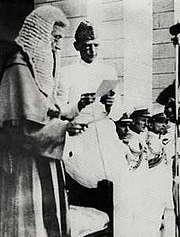 Muhammad Ali Jinnah being sworn in as Governor-General of Pakistan on August 14, 1947