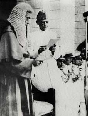 Abdul Rashid (judge) - Rashid (left) swearing-in Muhammad Ali Jinnah as Governor-General