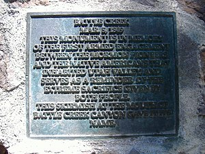 "Battle Creek massacre - ""...in memory of the first armed engagement between the Mormon Pioneers and the Native Americans that inhabited Utah Valley..."""