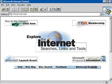 MSN.com screenshot August 24, 1995