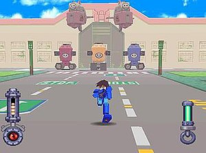 Mega Man Legends (video game) - An early boss battle in which Mega Man battles robots controlled by pirates.