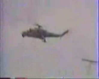 Operation Ring - A Mil Mi-24 helicopter circling above the Shahumyan region during the first operation.