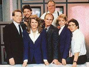Murphy Brown - The cast of Murphy Brown (1988–96, from left): (front) Kimbrough, Bergen, Regalbuto, Ford, Shaud; (back) Pastorelli, Corley