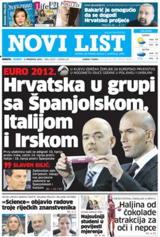Novi list - Novi list front page, December 3, 2011