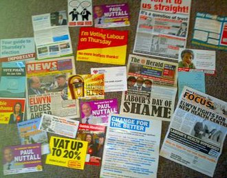 Oldham East and Saddleworth by-election, 2011 - A selection of campaign materials delivered to constituents for the by-election