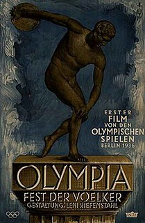 <i>Olympia</i> (1938 film) 1938 black-and-white Nazi propaganda documentary film, written, directed and produced by Leni Riefenstahl, about the 1936 Summer Olympics in Berlin