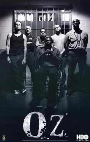 Oz (TV series) - From left to right: Ryan O'Reily, Vernon Schillinger, Miguel Alvarez, Tobias Beecher, Kareem Saïd, In the front sits Augustus Hill (this photo was also used as the cover for Hill's book)
