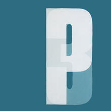 "A dark turquoise background with ""P"" and ""3"" overlaid on top of one another in lighter white"
