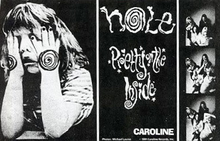 Rectangular flyer featuring photos of the band, a logo, and an image of a young girl with her hands covering her eyes.