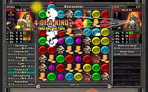 Puzzle Quest: Challenge of the Warlords - The combat screen in Puzzle Quest with the player (left) facing against a computer opponent (right).  Image is from the Xbox Live Arcade version of the game.