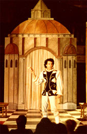 A photograph of Hanks on the stage performing as Callimaco in the play, The Mandrake, at the Riverside Shakespeare Theater