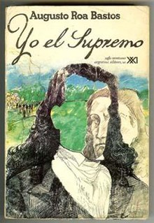 Cover of first Spanish language edition showing sketch of head and shoulders of figure with face missing, with second head and shoulders figure behind looking through the hole where the face should be. Hills and trees in the background