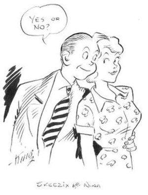 Gasoline Alley - Promotional art by Frank King (c. 1941), highlighting Skeezix's marriage proposal to Nina Clock.