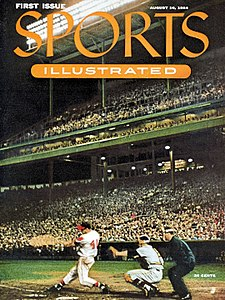 The first issue of Sports Illustrated, August 16, 1954, showing Milwaukee Braves star Eddie Mathews at bat in Milwaukee County Stadium.