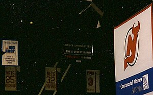 Bruce Springsteen and the E Street Band Reunion Tour - Continental Airlines Arena hung a banner celebrating the 15 sold out Reunion Tour shows there in July and August 1999.