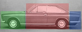 Three-box styling - A three-box coupé in notchback form, the Fiat 124