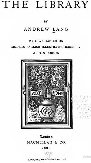 The Library (book) - Title page to The Library by Andrew Lang