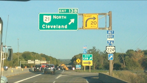 Interstate 76 in Ohio - Southwestern terminus of I-76/US 224 Alt on I-76 eastbound