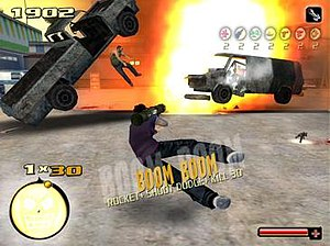 Total Overdose - A screenshot of the game featuring the shot dodge ability