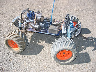 Radio-controlled car - A Traxxas T-Maxx nitro powered off-road monster truck without body.