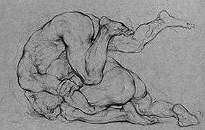 Hyman Bloom - Two Wrestlers by Hyman Bloom, 1929