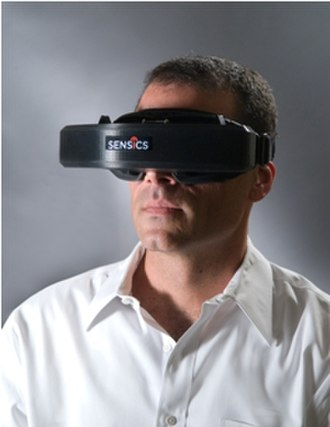 Head-mounted display - A professional head-mounted display (HMD).